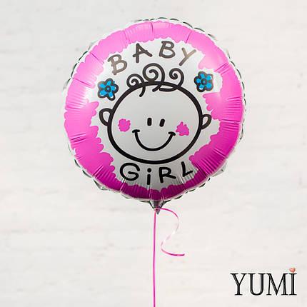 """Розовый фольгированный круг """"BABY Girl"""", фото 2"""