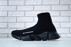 Кроссовки мужские Balenciaga Knit High-Top Sneakers Black/Black баленсиага мужские. ТОП Реплика ААА класса., фото 2
