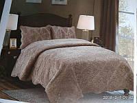 Однотонное ворсистое стеганое покрывало на кровать, евро размер  с наволочками. Цвет кофе., фото 1