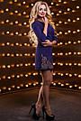 Платье короткое синее с вышивкой костюмка, фото 3