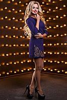 Женское короткое синее платье с вышивкой р. от 42 до 48, костюмка