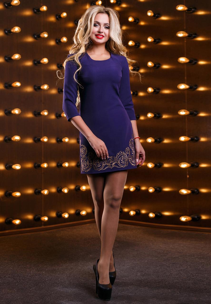 Платье короткое синее с вышивкой костюмка