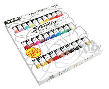 Краски акриловые Pebeo Studio набор 30цв. по 20мл + кисть P-833431