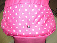 301 Кукольная коляска-трансформер 2в1 с переноской Adbor Mini Ring (розовый, горошек на розовом)
