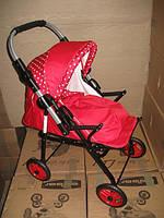 301 Кукольная коляска-трансформер 2в1 с переноской Adbor Mini Ring (красный, горошек на красном)