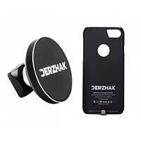 Автодержатель беспроводная зарядка DERZHAK U1+чехол адаптер к iPhone 6 Plus/6s Plus/7 Plus Черный