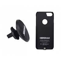 Автодержатель беспроводная зарядка DERZHAK V1+чехол адаптер к iPhone 6/6s/7 Черный