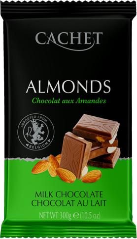 Шоколад Cachet молочный с миндалем 300г