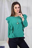Женская однотонная блуза с рюшами по боках