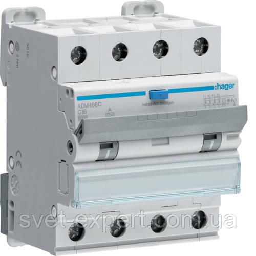 Диференційний автоматичний вимикач Hager 4P 6kA C-16A 30mA A