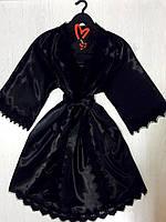 Атласный черный комплект для дома халат и пеньюар