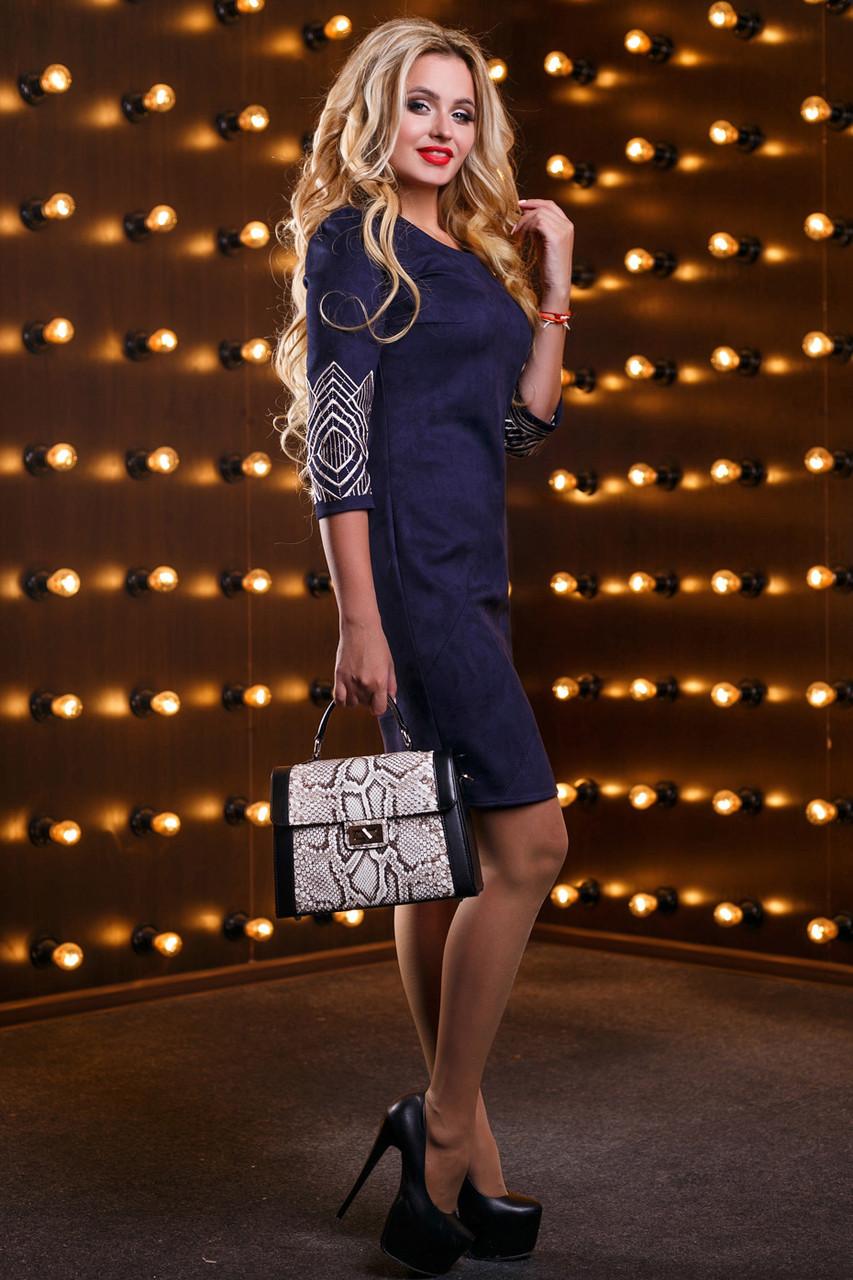 Платье с вышивкой женское р. от 44 до 50, эко-замша с вышивкой, тёмно-синее