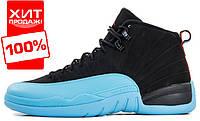 Мужские кроссовки Nike Air Jordan 12 Retro Black/Gamma Blue (найк аир жордан 12 ретро)
