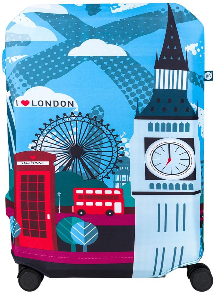 Современный чехол для большого чемодана BG Berlin HUG COVER/London 67-73см L, Bg002-02-133-L, голубой