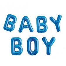 Набор фольгированных слов BABY BOY в голубом  цвете