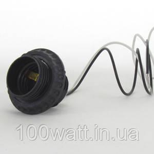 Патрон люстровый с проводом 40 см Е27 черный  GAV 426-1