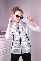 Детская жилетка на девочку, размер 134-164, серебро, фото 1