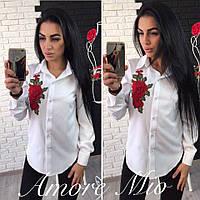 Женская рубашка украшенная принтом (роза) 731379
