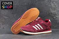 Кроссовки мужские Adidas Spezail для туризма и спорта, материал - замша, бордовые