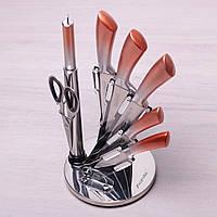 Набор кухонных ножей, ножницы и точилка Kamille 8 предметов на акриловой подставке