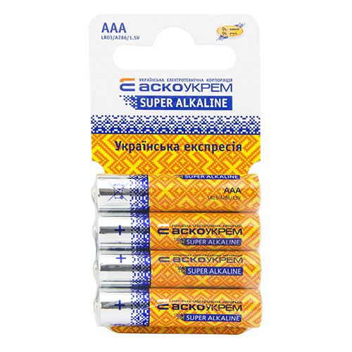 Батарейка АСКОУКРЕМ Super Alkaline AАА (shrink card 4)