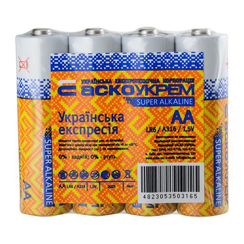 Батарейка АСКОУКРЕМ Super Alkaline AА (shrink 4)