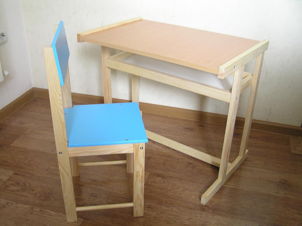 Детская деревянная парта + стул