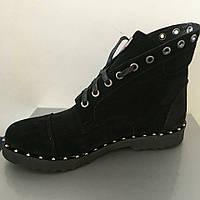 Ботинки женские на шнуровке натуральная кожа/замш