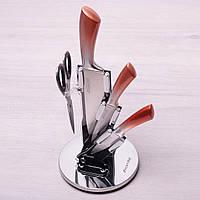 Набор кухонных ножей и ножницы Kamille 5 предметов на акриловой подставке