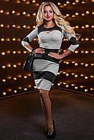 Красивое стильное женское платье 2515 светло-серый-черный меланж