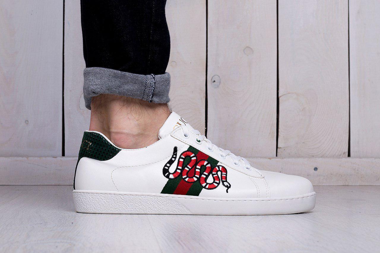 Мужские кеды Gucci Snake Embroidered Sneaker, Копия