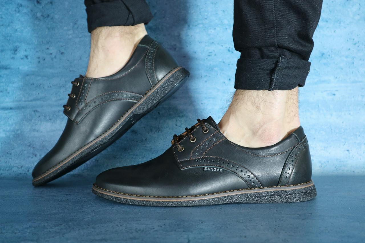Мужские туфли ZanGak (черные/коричневые), ТОП-реплика