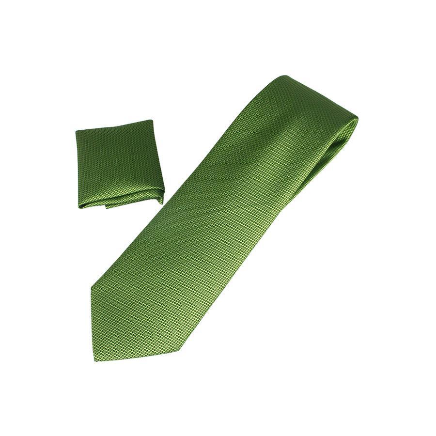 Мужской комбинированный галстук  Pierre Cavell  098 Л  в зеленых оттенках