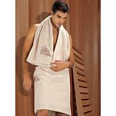 Килт-юбка махровая для сауны, бежевая, 380гр/м2, 55х160см