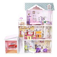Мега большой игровой кукольный домик для барби EcoToys 4108wg Beverly + гараж 124см