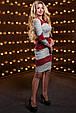 Красивое стильное женское платье 2514 светло-серый-марсала меланж, фото 2