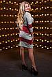 Красивое стильное женское платье 2514 светло-серый-марсала меланж, фото 3