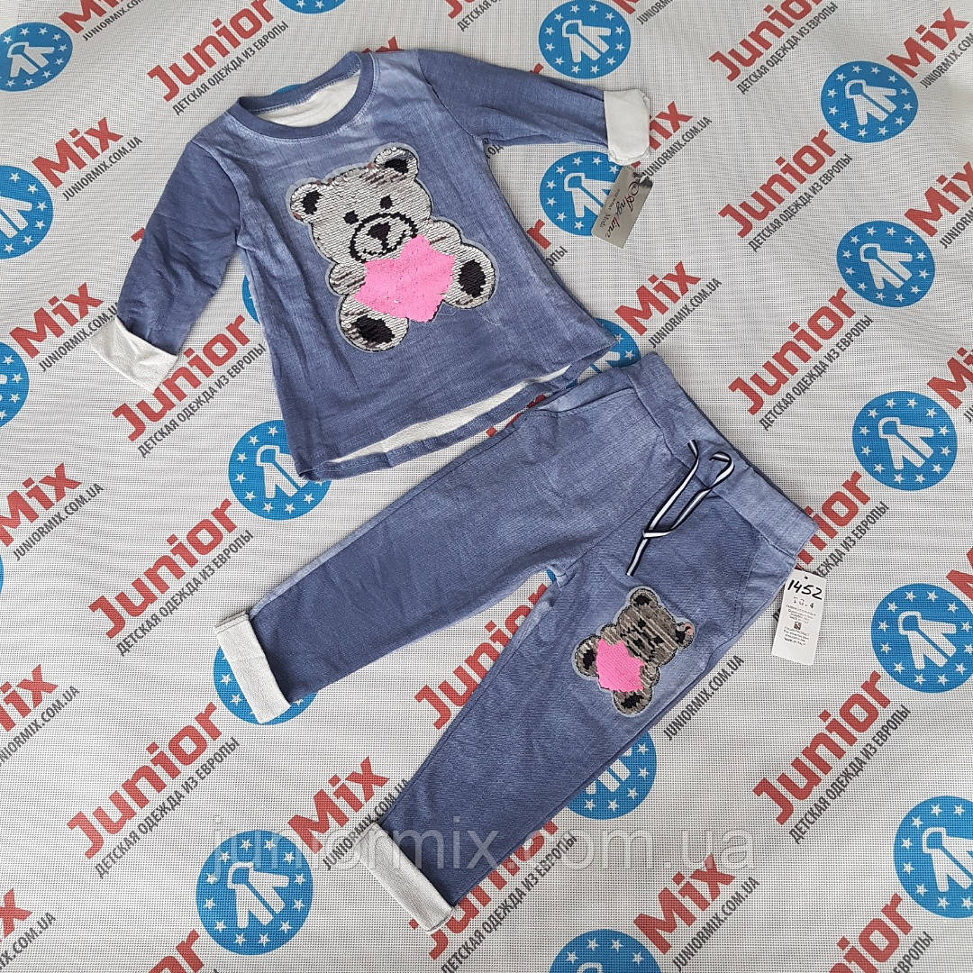 Детские котоновые костюмы с паетками меняшками для девочек оптом Angelina