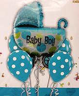 Набор шариков для выписки с роддома (на день рождения) в мятно-синем цвете