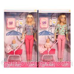 Кукла DEFA 8358-BF (36шт) 28см, пупс 8см, коляска 10см, аксессуары, 2 вида, в кор-ке, 18-32-6,5см