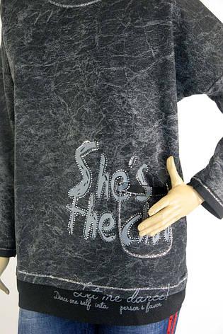 Жіночий реглан, кофта,світшот з стразами і принтами, фото 2