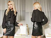 Женская блуза с бантом и рукавами-фонариками 42374