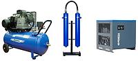 Компрессор с горизонтальным ресивером и осушителем воздуха холодильного типа
