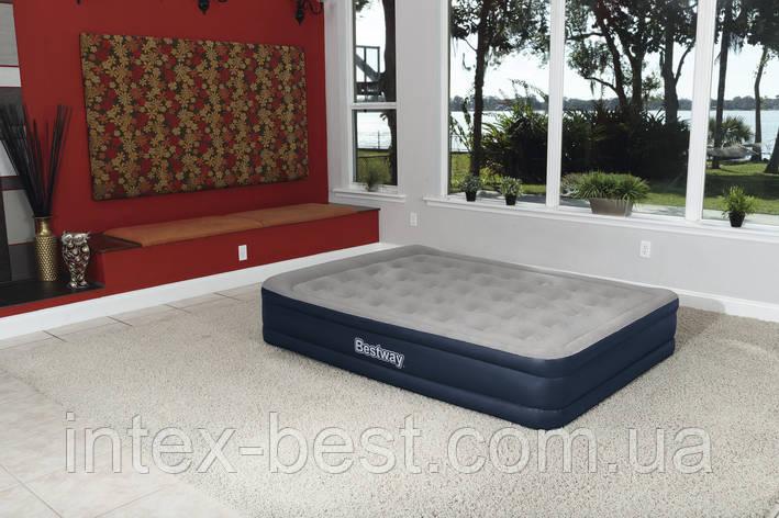 67600 BW Надувная кровать Cornerstone Airbed, 203х152х43см, встроенный электронасос, фото 2