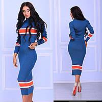 Женское стильное вязаное платье с итальянской пряжи с добавлением хлопка под горло цвет синий