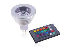 Цветная светодиодная лампа 3Вт RGB MR16 LM293 с пультом
