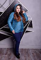 Женская весенняя куртка батал с капюшоном 99555