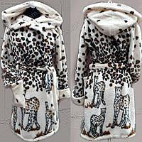 Женский  махровый халат средней длины Леопард S-XL размеры
