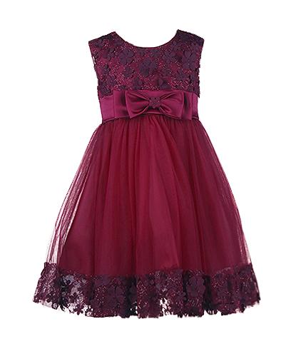 Шикарное вечернее платье для девочки цвета марсала