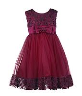 Шикарное вечернее платье для девочки цвета марсала, фото 1